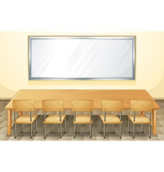 Classroom with whiteboard and chairs vector image