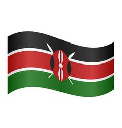 flag of kenya waving on white background vector image