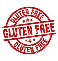 Gluten free round red grunge stamp vector