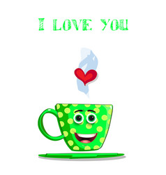 i love you greeting card with cute green coffee vector image vector image