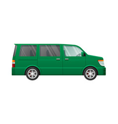 Isolated green minivan in simple cartoon style vector