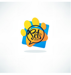 Pets shop logo image of vibrnt blue speech vector