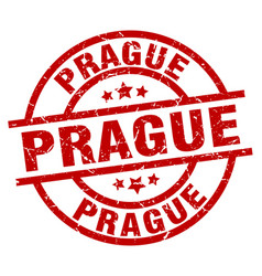 prague red round grunge stamp vector image vector image