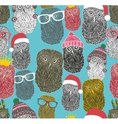 Seamless pattern with cute winter owls vector image vector image