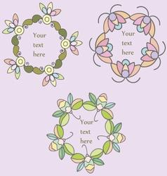 Set of hand drawn floral frames vector image