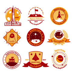 space colourful emblems collection vector image