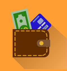 wallet icon in color money case cash shopping vector image