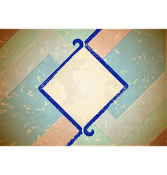 Aged frame with blue border vector image vector image