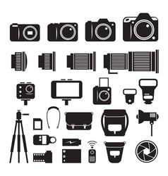 Camera Photography Mono Icons Set vector image
