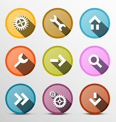 Colorful Web Icons Set in Circles vector image vector image