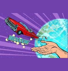humanity launches into space car vector image vector image