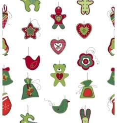 Seamless pattern with Christmas decoration on vector image