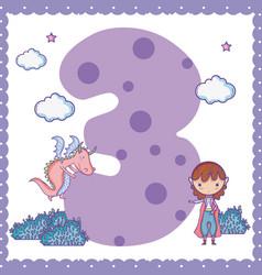 three number cartoon vector image