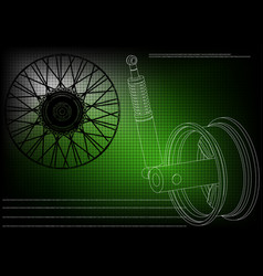 wheel and shock absorber on a green vector image
