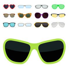fashion set sunglasses accessory sun spectacles vector image