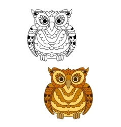 Forest brown owl with decorative feathers vector image