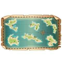 map of pirate with islands vector image