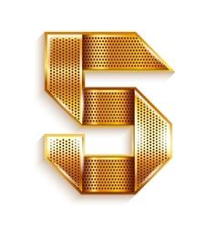 Number metal gold ribbon - 5 - five vector image vector image
