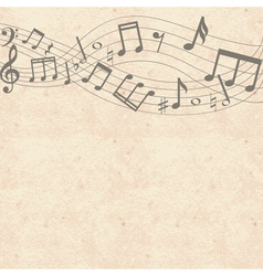 old cardboard texture with music notes border vector image vector image
