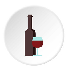 red wine and glass icon circle vector image vector image