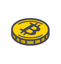 yellow bitcoin coin vector image vector image