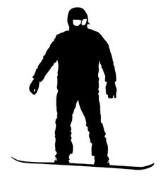 Black silhouettes snowboarders on white vector image