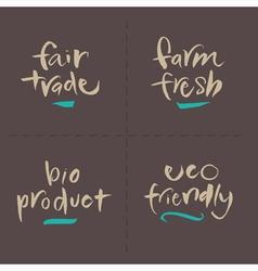 Fairtrade farm bio eco food labels vector