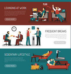 lazy people banners set vector image vector image