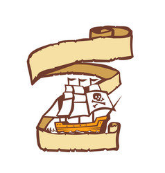 pirate ship sailing scroll retro vector image