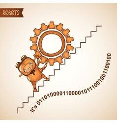 Robot pushing heavy gear upstairs vector image