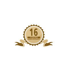 16 years ribbon anniversary vector
