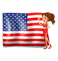 A beauty queen and the flag of the USA vector image