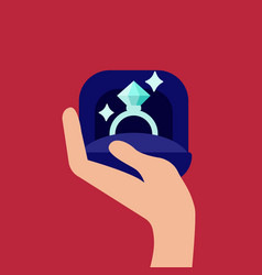 a hand holding a diamond vector image