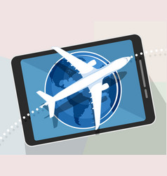airplane on a tablet vector image