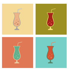 Assembly flat icons glass of cocktail vector
