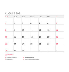 August 2021 monthly calendar planner printable vector