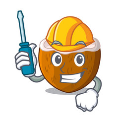 automotive half coconut isolated on the mascot vector image