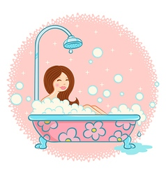 bathroom and girl vector image