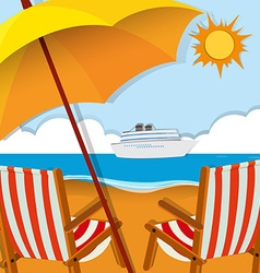 Beach scene with chairs and umbrella vector