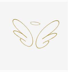 big golden wings vector image