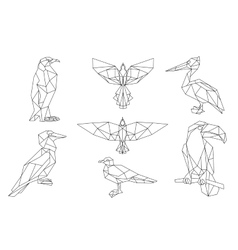 Bird triangular icon set vector image