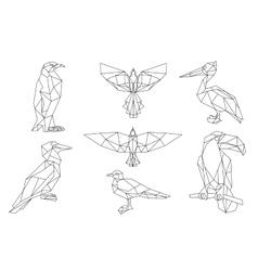 bird triangular icon set vector image