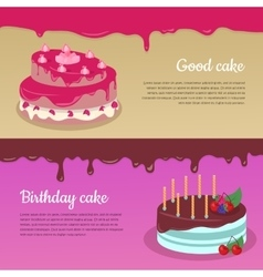 Birthday Cake with Raspberry and Candlesticks Set vector