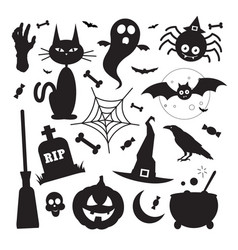 black silhouette halloween elements icons vector image