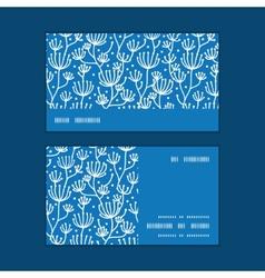 blue white lineart plants horizontal stripe vector image