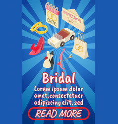 Bridal concept banner comics isometric style vector