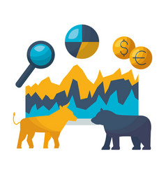 Bull bear dollar euro chart stock market vector