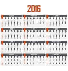 Calendar for 2016 Week starts on Sunday vector image
