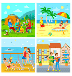 camping and sea beach voyage and sightseeing vector image