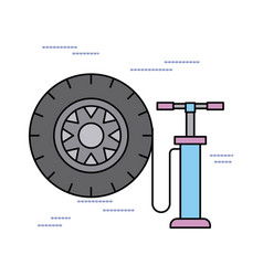 Car service tire pump air support concept vector